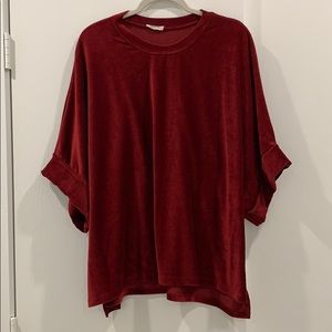 Oversized, Boxy Red Corded Tee - L